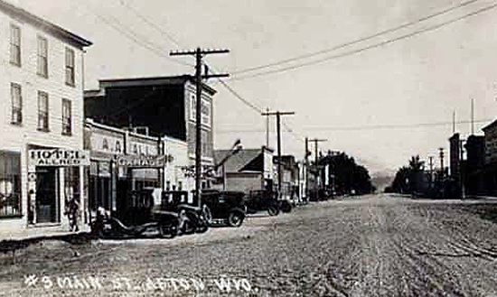 Main Street Afton Wyoming Aprox 1920 Allred Hotel On Left