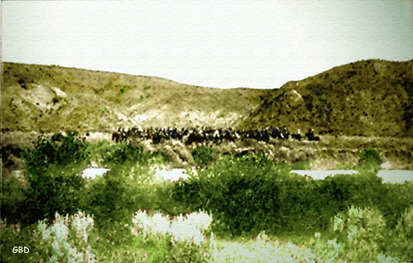 Reno's retreat across the Little Bighorn. Reno Hill on the right. Artwork by G. B. Dobson, based on woodcut, Century Magazine, 1892.