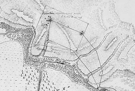 Portion of Maguire Map (see previous page), depicting Last Stand Hill.
